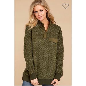 Quinn Quilted Pocket Pullover - Olive